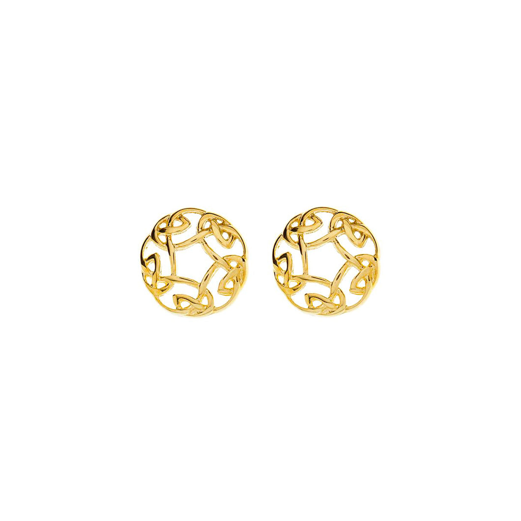 Celtic Circle Earrings, Yellow Gold