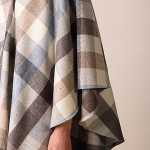 Holly Cape, Beige, Grey & Blue Check