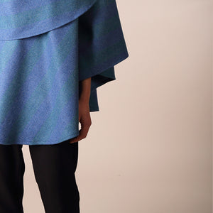 Holly Cape, Blue & Green Stripe
