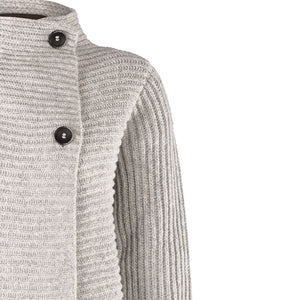 Horizontal Ribbed Two Button Knit, Grey