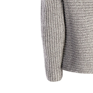Horizontal Ribbed Two Button Knit, Grey Sky