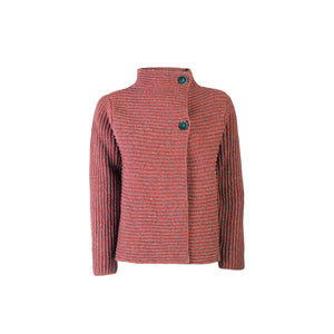 Horizontal Ribbed Cardigan, Life Buoy/Grey
