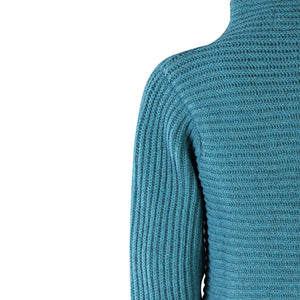 Horizontal Ribbed Two Button Knit, Turquoise
