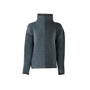 Funnel Neck Sweater, Turquoise Charcoal