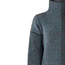 Load image into Gallery viewer, Funnel Neck Sweater, Turquoise Charcoal