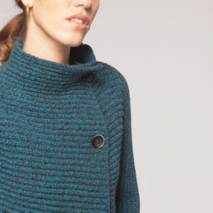 Horizontal Ribbed Two Button Knit, Turquoise Coal