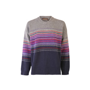 Jacquard Crew Neck Sweater, Grey & Navy