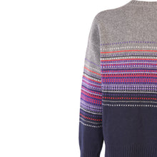 Load image into Gallery viewer, Jacquard Crew Neck Sweater, Grey & Navy