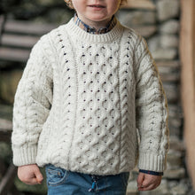 Load image into Gallery viewer, Kids Unisex Aran Sweater, Natural