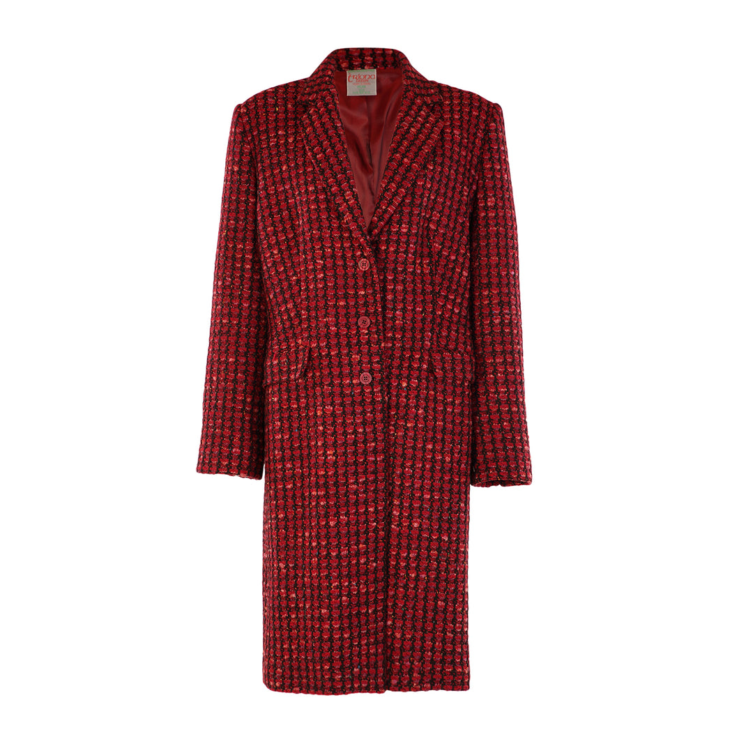 Tweed Knee Coat - Red