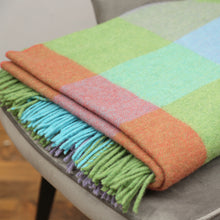 Load image into Gallery viewer, Lambswool Blanket, Green, Aqua & Lilac Block Check