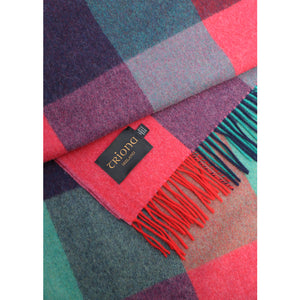 Lambswool Blanket, Purple & Teal Square