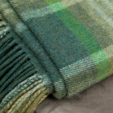 Load image into Gallery viewer, Lambswool Blanket, Green Mix Camel Check