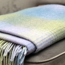 Load image into Gallery viewer, Lambswool Blanket, Blue Green & Lilac Herringbone Check