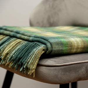 Lambswool Blanket, Green Mix Camel Check