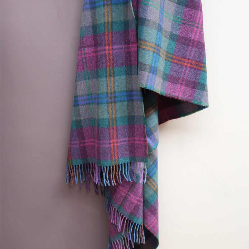 Lambswool Blanket, Purple Check