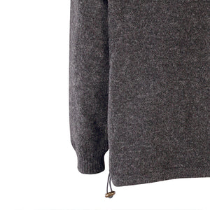 Lined Full Zip Neck Sweater, Charcoal