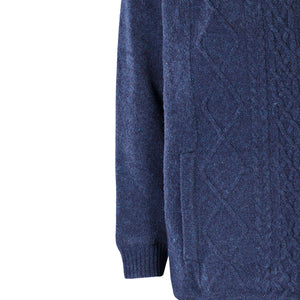 Lined Full Zip Neck Sweater, Navy