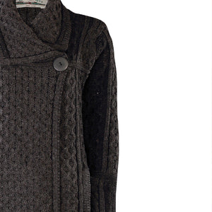 Long Two Tone One Button Cardigan, Charcoal Mix