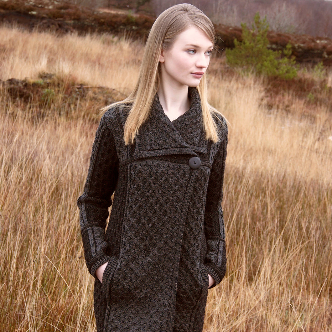 Charcoal Two Tone Wool Coat