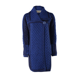 Long Two Tone One Button Cardigan, Navy Mix