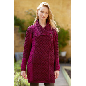 Long Two Tone One Button Cardigan, Wine Mix