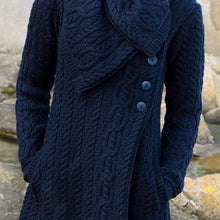 Load image into Gallery viewer, Navy Long Aran Cardigan with Oversized Collar