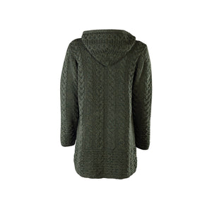 Army Green Aran Cardigan with Hood