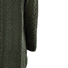 Load image into Gallery viewer, Army Green Aran Cardigan with Hood