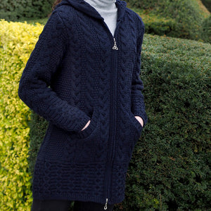 Navy Aran Cardigan with Hood