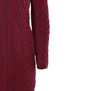 Wine Fitted Aran Cardigan