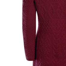 Load image into Gallery viewer, Wine Fitted Aran Cardigan