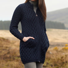 Load image into Gallery viewer, Blackwatch Long Aran Cardigan with Zip