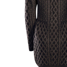 Load image into Gallery viewer, Charcoal Long Aran Cardigan with Zip