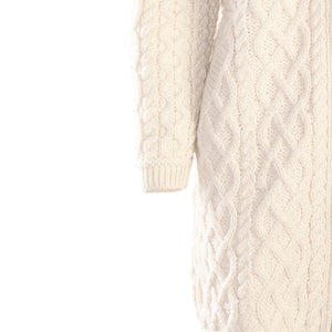 Natural Long Aran Cardigan with Zip