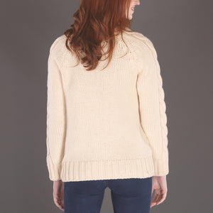 Luxury Cable Knit Sweater, Cream