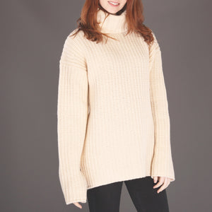 Cream Cashmere Blend Oversized Ribbed Polo Neck Sweater