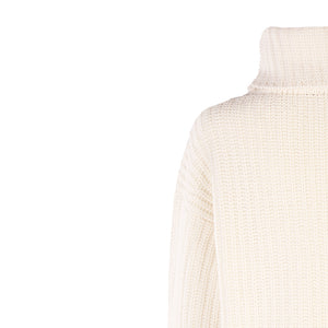 Luxury Polo Neck Sweater, Natural