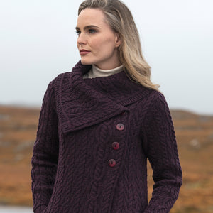 Long Cardigan with Buttons, Damson