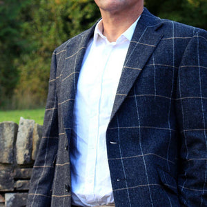 Donegal Tweed Jacket - Grey & Gold Windowpane