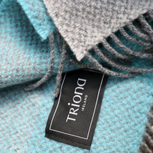 Load image into Gallery viewer, Merino & Cashmere Blanket, Grey, Aqua & Teal Check