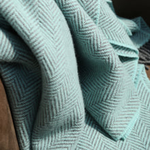 Load image into Gallery viewer, Merino & Cashmere Blanket, Aqua & Grey Herringbone