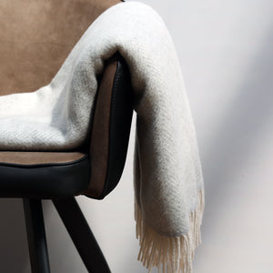 Merino & Cashmere Blanket, Pale Grey & Cream Herringbone