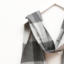 Load image into Gallery viewer, Merino Wool Scarf, Charcoal Check