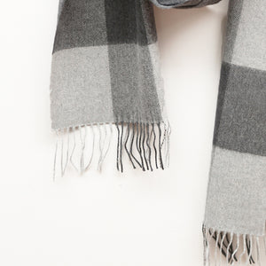 Merino Wool Scarf, Charcoal Check