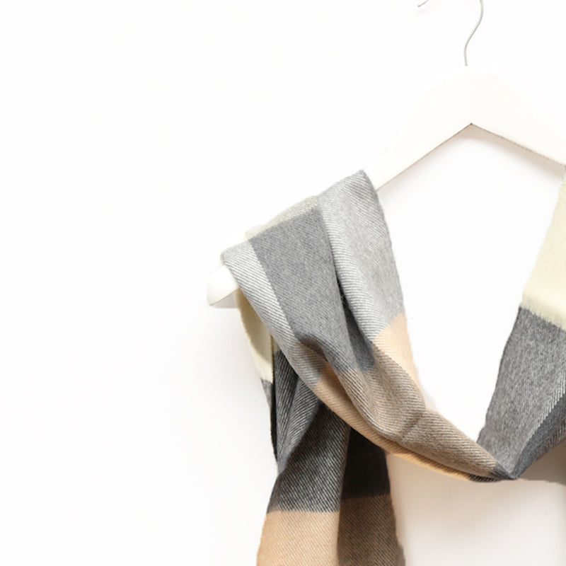 Merino Wool Scarf, Grey & Cream Square