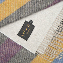 Load image into Gallery viewer, Merino & Lambswool Blanket, Grey, Pink & Mustard Stripe