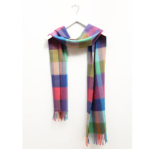 Merino Wool Scarf, Multi Check