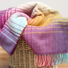 Load image into Gallery viewer, Merino & Cashmere Blanket, Purple & Mustard Square