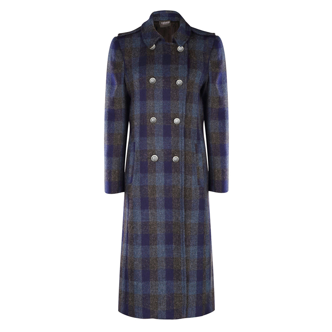 Military Coat, Navy Check